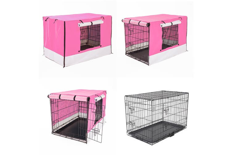 "42"" Foldable Wire Dog Cage with Tray + PINK Cover"