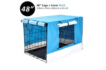 "48"" Foldable Wire Dog Cage with Tray + BLUE Cover"