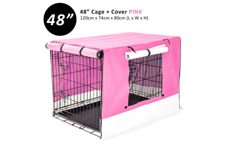 """48"""" Foldable Wire Dog Cage with Tray + PINK Cover"""