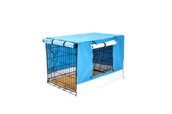 "24"" Foldable Wire Dog Cage with Tray + Cushion Mat + BLUE Cover"