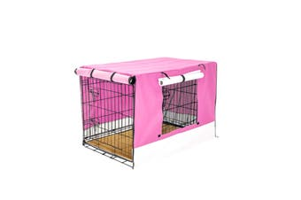 "24"" Foldable Wire Dog Cage with Tray + Cushion Mat + PINK Cover"