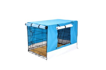 "30"" Foldable Wire Dog Cage with Tray + Cushion Mat + BLUE Cover"
