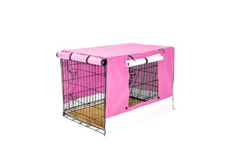 "30"" Foldable Wire Dog Cage with Tray + Cushion Mat + PINK Cover"