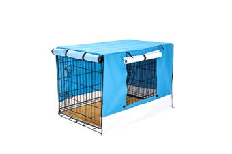 "36"" Foldable Wire Dog Cage with Tray + Cushion Mat + BLUE Cover"