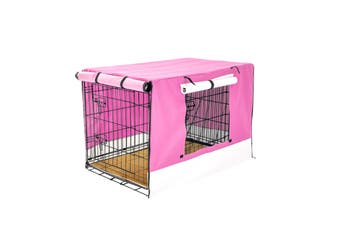 "36"" Foldable Wire Dog Cage with Tray + Cushion Mat + PINK Cover"