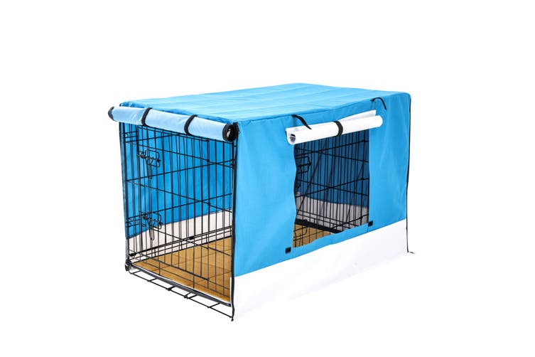 """42"""" Foldable Wire Dog Cage with Tray + Cushion Mat + BLUE Cover"""