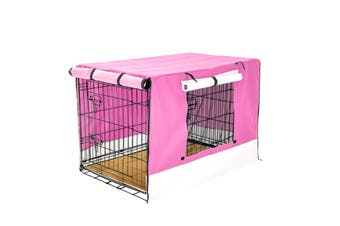 "42"" Foldable Wire Dog Cage with Tray + Cushion Mat + PINK Cover"