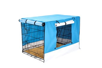 "48"" Foldable Wire Dog Cage with Tray + Cushion Mat + BLUE Cover"
