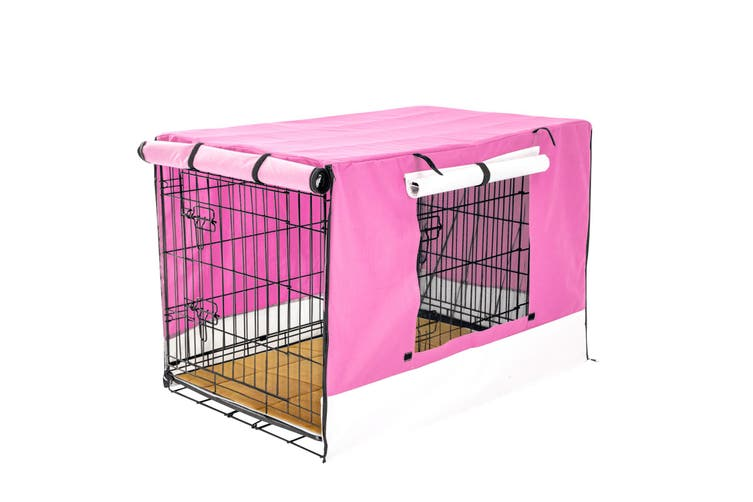 """48"""" Foldable Wire Dog Cage with Tray + Cushion Mat + PINK Cover"""