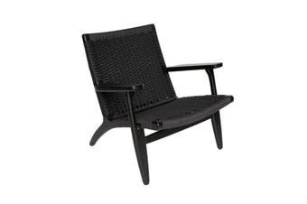 Matt Blatt Hans Wegner Replica CH25 Easy Woven Chair (Black, Black)