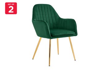 Shangri-La Set of 2 Armadale Velvet Armchairs (Emerald)