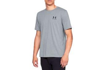 Under Armour Men's Sportstyle Left Chest Short Sleeve Tee (Steel Light Heather/Black)