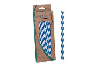 Appetito Paper Straws Pack 50 Blue Stripe