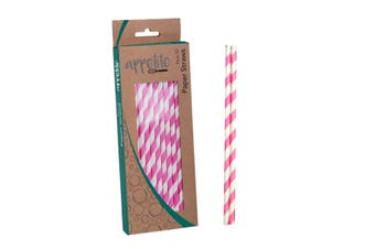 Appetito Paper Straws Pack 50 Pink Stripe