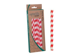 Appetito Paper Straws Pack 50 Red Stripe