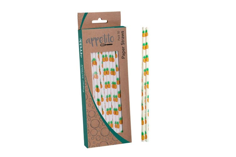 Appetito Paper Straws Pack 50 Pineapples