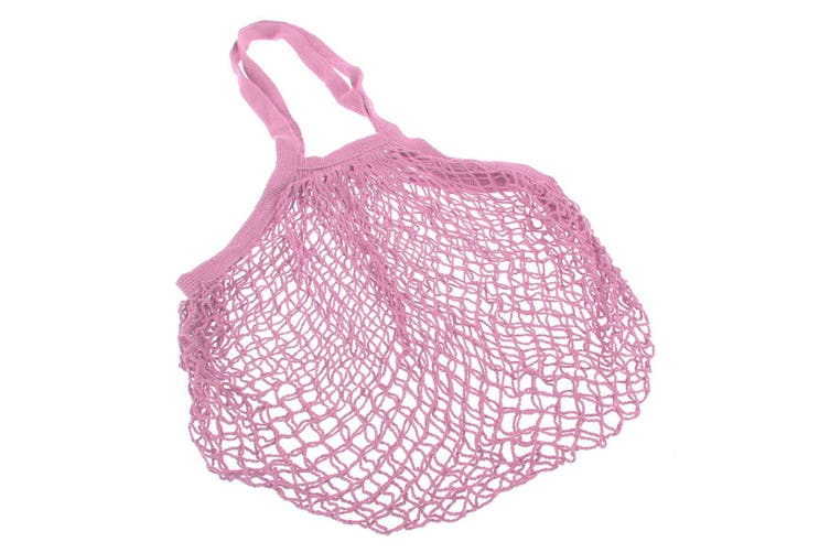 Appetito Cotton String Shopping Bag - Pink Long Handles