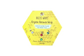 Buzzee Wraps Reusable Beeswax Kitchen Wraps Bees at Work Pack 4