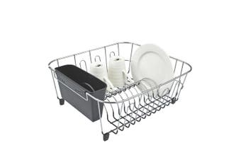 DLine Small Chrome Dish Rack with Caddy