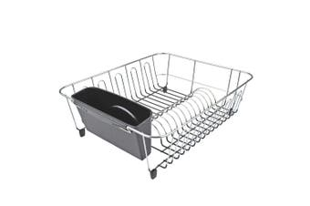 DLine Large Chrome Dish Rack with Caddy