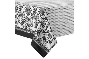 Ladelle Watercolour Floral Tablecloth BLACK 2.25 metres