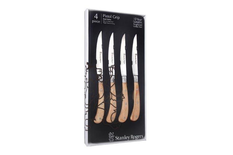 Stanley Rogers 4 Piece Pistol Grip Steak Knives - Woodlands Distressed