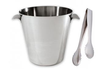 Stainless Steel Wine Bucket + Ice Tongs