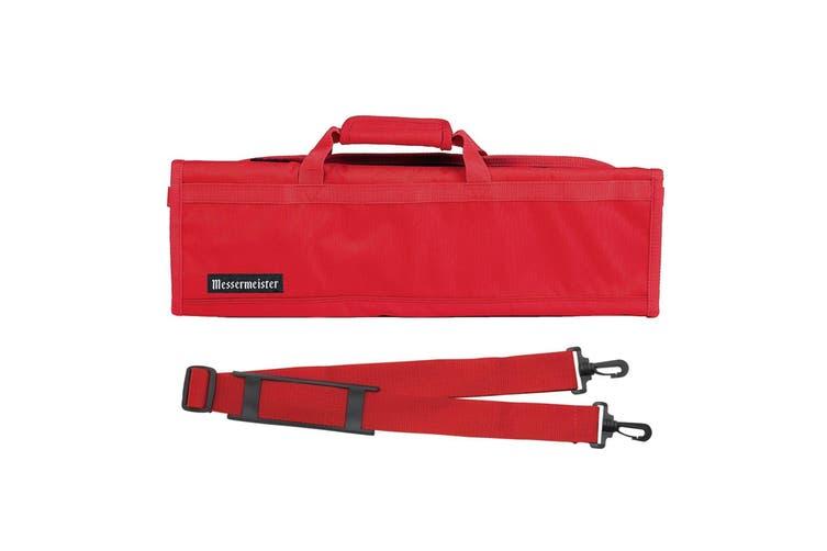 NEW MESSERMEISTER 8 POCKET KNIFE ROLL Case Bag Storage Carry RED