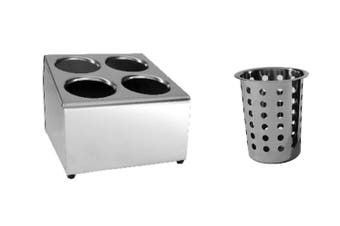 Stainless Steel Cutlery Holder With Baskets - 4 Holes Square