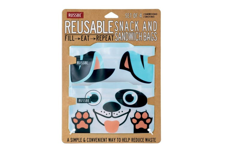Russbe Reusable Snack and Sandwich Bags Set 4 Dog