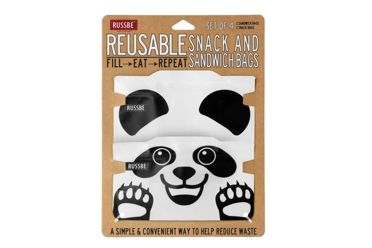 Russbe Reusable Snack and Sandwich Bags Set 4 Panda