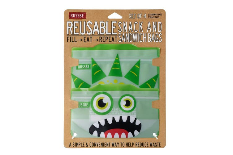 Russbe Reusable Snack and Sandwich Bags Set 4 Green Monster
