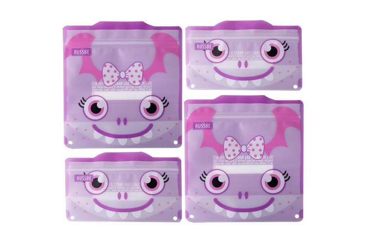 Russbe Reusable Snack and Sandwich Bags Set 4 Purple Monster
