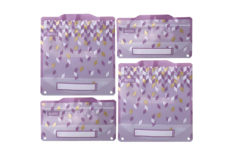 Russbe Reusable Snack and Sandwich Bags Set 4 Metallic Confetti