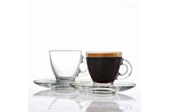 Classica Aurora Set 6 Glass Cups and Saucers 95ml