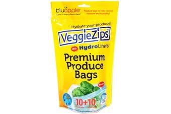 Bluapple Veggiezips 10 Produce Bags & Hydroliners