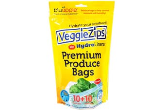 BluApple VeggieZips 10 Produce Bags and Hydroliners