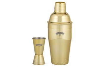 Baileys Gold Plated Stainless Steel Cocktail Shaker and Jigger Set