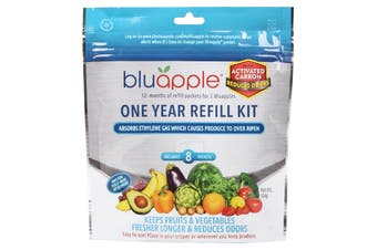 BluApple Classic + Activated Carbon Fruit & Vegetable Life Extender 1 Year Refill Kit 8 Sachets