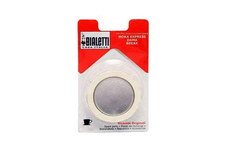 Bialetti Silicone Ring Gasket + Filter Plate For Aluminium Percolator-1 Cup