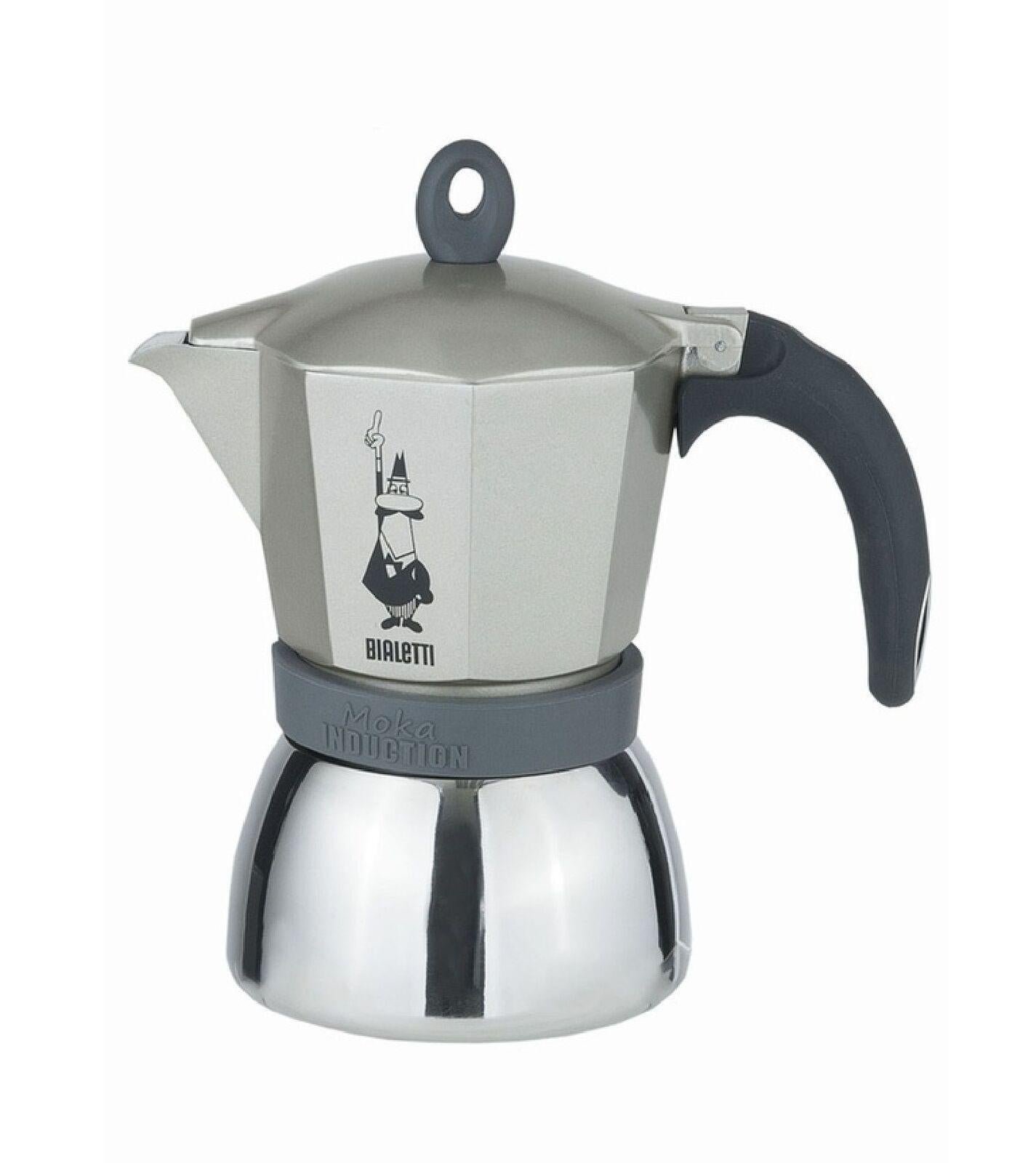 Bialetti Moka Aluminium Stainless Steel White Induction Suitable 3 Cups Stove Top Espresso Maker Coffee Tea Espresso Stovetop Coffee Makers
