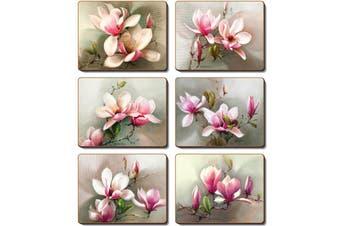 Cinnamon Cork Backed Coasters Set of 6 Magnolias