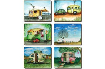 Cinnamon Cork Backed Coasters Set of 6 Vintage Caravan