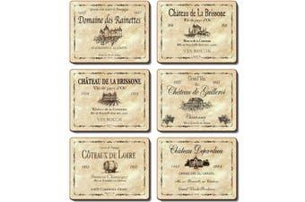 Cinnamon Cork Backed Coasters Set of 6 Wine Labels