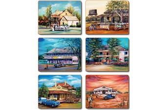 Cinnamon Cork Backed Coasters Set of 6 Old Hotels