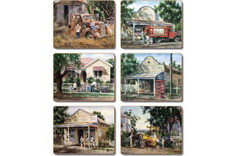 Cinnamon Cork Backed Coasters Set of 6 Times Now Past
