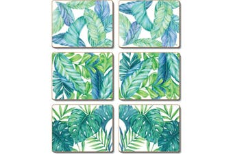 Cinnamon Cork Backed Coasters Set of 6 Tropical Leaves