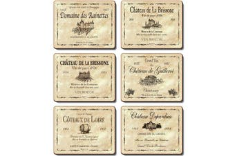 Cinnamon Placemats Cork Backed Set of 6 Wine Labels
