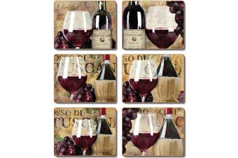 Cinnamon Placemats Cork Backed Set of 6 Old World Wine