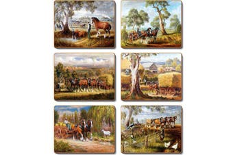 Cinnamon Placemats Cork Backed Set of 6 Working Horses